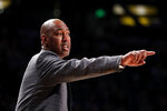 Wake Forest head coach Danny Manning directs his players during the second half of an NCAA college basketball game against Georgia Tech, Saturday, Jan. 5, 2019, in Atlanta. Tech won 92-79. (AP Photo/John Bazemore)