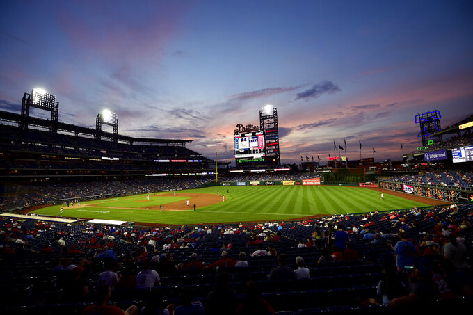 General view of Citizens Bank Park during the third inning of a baseball game between the Philadelphia Phillies and the Milwaukee Brewers, Tuesday, May 4, 2021, in Philadelphia. (AP Photo/Derik Hamilton)