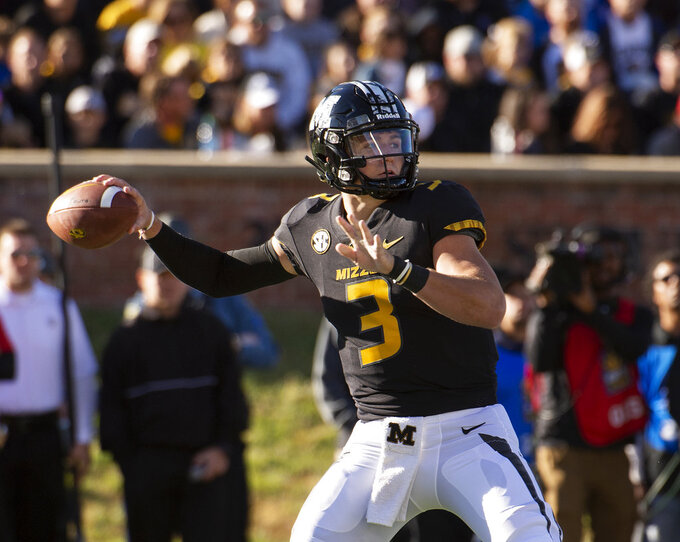 Missouri quarterback Drew Lock throws a pass during the first half of an NCAA college football game against Memphis, Saturday, Oct. 20, 2018, in Columbia, Mo. (AP Photo/L.G. Patterson)