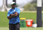 Miami Dolphins head coach Brian Flores looks on  during NFL football practice, Wednesday, Sept. 1, 2021 in Miami Gardens, Fla. (David Santiago/Miami Herald via AP)