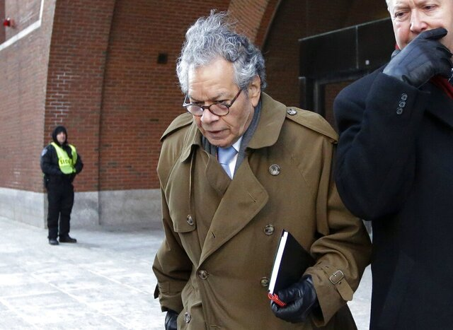 FILE - In this Jan. 30, 2019, file photo, Insys Therapeutics founder John Kapoor leaves federal court in Boston. Kapoor and former top employees of the pharmaceutical company are facing a reckoning for their role in a bribery scheme that prosecutors say boosted sales of a powerful, highly addictive painkiller and helped fuel the national opioid epidemic. Starting Monday, Jan. 13, 2020, seven people who worked for Insys Therapeutics will appear in Boston to be sentenced by a federal judge. (AP Photo/Steven Senne, File)