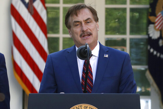 FILE - In this March 30, 2020 file photo, My Pillow CEO Mike Lindell speaks about the coronavirus in the Rose Garden of the White House in Washington. Lindell, an avid supporter of President Donald Trump, who has continued to push the notion of election fraud since Trump lost to Joe Biden in the presidential election in November, said his products will no longer be carried in the stores of some retailers, including Bed Bath & Beyond and Kohl's. (AP Photo/Alex Brandon)
