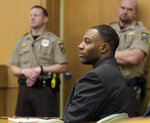 Former NCAA college football player Torrey Green listens to testimony during his rape trial, Tuesday, Jan. 15, 2019, in Brigham City, Utah. Green is accused of raping multiple women while he was a football player at Utah State. (Eli Lucero/The Herald Journal via AP)