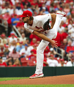 St. Louis Cardinals starting pitcher Michael Wacha throws during the first inning a baseball game against the Los Angeles Angels, Friday, June 21, 2019, in St. Louis. (AP Photo/L.G. Patterson)