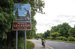 A sign welcomes people to the English city of Leicester, Sunday June 28, 2020, as the city is reported to be suffering from a spike in coronavirus cases. The Government has said it is supporting officials in Leicester in their battle against COVID-19, after a report the city could be subject to Britain's first local lockdown later this week. (Joe Giddens/PA via AP)