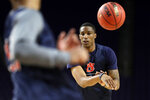 Auburn's Horace Spencer warms up during a practice session for the semifinals of the Final Four NCAA college basketball tournament, Friday, April 5, 2019, in Minneapolis. (AP Photo/Jeff Roberson)