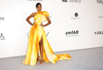 Model Jasmine Tookes poses for photographers upon arrival at the amfAR, Cinema Against AIDS, benefit at the Hotel du Cap-Eden-Roc, during the 72nd international Cannes film festival, in Cap d'Antibes, southern France, Thursday, May 23, 2019. (Photo by Joel C Ryan/Invision/AP)