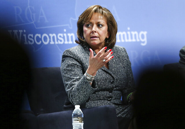 FILE - In a Wednesday, Nov. 18, 2015 file photo, New Mexico Gov. Susana Martinez participates in a panel discussion during the Republican Governors Association annual conference in Las Vegas. State and local prosecutors are reviewing the results of a special audit about secretive financial settlements under the past administration of Martinez that were used to resolve human rights complaints and other legal claims against public officials. (AP Photo/Chase Stevens, File)