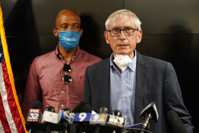 FILE - In this Aug. 27, 2020, file photo, Wisconsin Gov. Tony Evers speaks during a news conference in Kenosha, Wis. An effort to gather enough signatures to force a recall election of Evers has failed, the recall's organizer told supporters on Monday, Oct. 26, 2020. (AP Photo/Morry Gash, File)