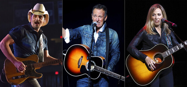 This combination photo shows Brad Paisley, from left, Bruce Springsteen and Sheryl Crow who will participate in this year's Stand Up for Heroes fundraiser on Nov. 18. The fundraiser, which benefits injured veterans and their families, will also feature comedians including Nate Bargatze, Ronny Chieng, Tiffany Haddish, Iliza Shlesinger and Ray Romano. Jon Stewart will again be host. (AP Photo)