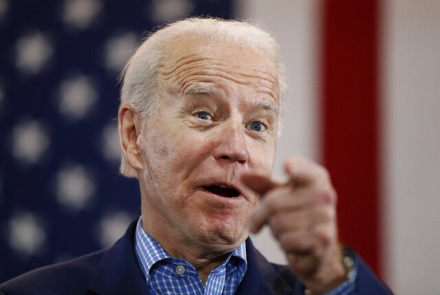 FILE - In this Feb. 22, 2020, file photo, Democratic presidential candidate former Vice President Joe Biden speaks during a caucus night event in Las Vegas. As Biden's search for a vice presidential running mate heats up, he is facing growing pressure to choose a black woman. (AP Photo/John Locher, File)