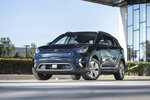 This undated photo provided by Kia shows the 2019 Kia Niro EV, an all-electric compact with plenty of interior space and 239 miles of range. (Kia Motors America via AP)