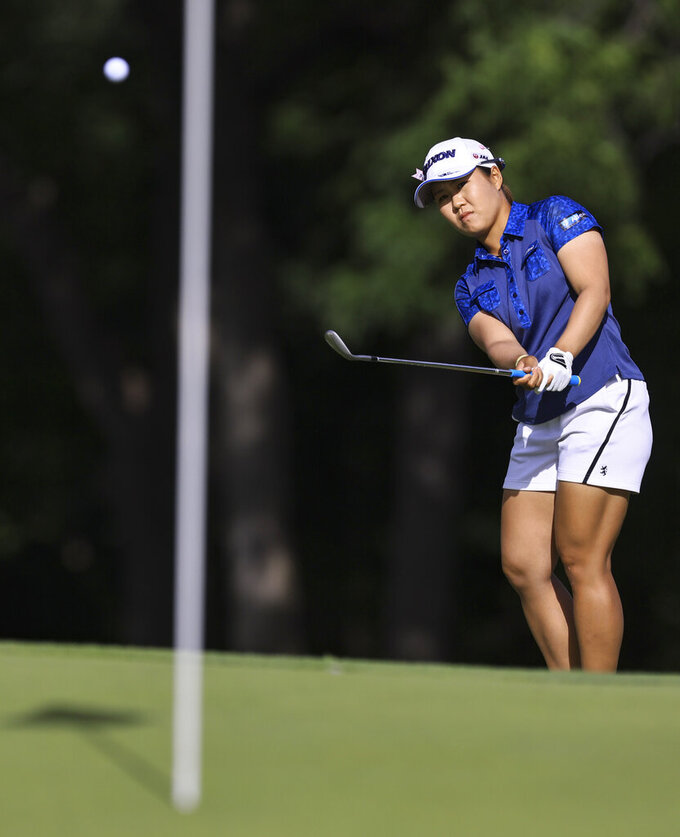 Nasa Hataoka chips onto the 18th green during the second round the LPGA Marathon Classic golf tournament Friday, July 9, 2021, at Highland Meadows in Sylvania, Ohio. (Jeremy Wadsworth/The Blade via AP)