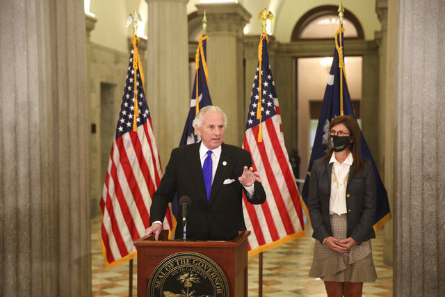 South Carolina Gov. Henry McMaster speaks during a news conference on how he wants to spend $19 million in federal COVID-19 relief money during a news conference at the Statehouse in Columbia, S.C., Tuesday, Jan. 5, 2021. McMaster wants to send the money to pre-kindergarten programs and job training. (AP Photo/Jeffrey Collins)