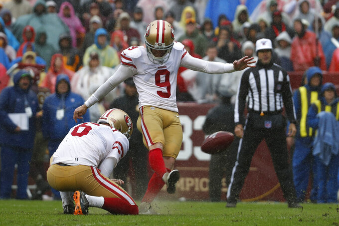 San Francisco 49ers kicker Robbie Gould (9) kicks a field goal in front of teammate Mitch Wishnowsky in the second half of an NFL football game against the Washington Redskins, Sunday, Oct. 20, 2019, in Landover, Md. (AP Photo/Alex Brandon)