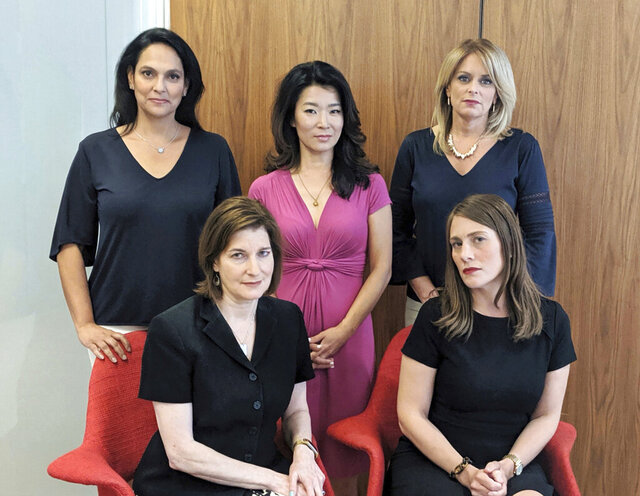 This undated photo provided by Wigdor Law in December 2020 shows five anchorwomen from the NY1 news channel in New York. In the back row from left are Jeanine Ramirez, Vivian Lee and Kristen Shaughnessy. In the front row are Roma Torre, left, and Amanda Farinacci. In their lawsuit, the women, all over age 40, alleged that they were marginalized and cast aside to make room for younger women and men after Charter Communications, a Stamford, Connecticut-based company, took over the local news channel in 2016. (Jacob Edinger/Wigdor Law/@UnseenWomenOnTV via AP)
