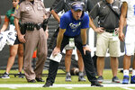 Central Connecticut State head coach Ryan McCarthy watches during the first half of an NCAA college football game against Miami, Saturday, Sept. 25, 2021, in Miami Gardens, Fla. (AP Photo/Lynne Sladky)