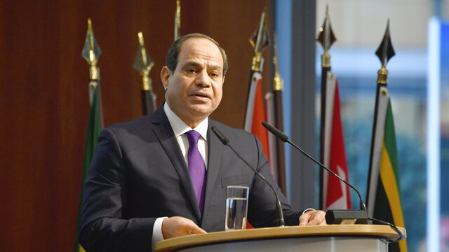 FILE - In this Nov. 19, 2019 file photo, Egypt's President Abdel Fattah al-Sisi speaks at the