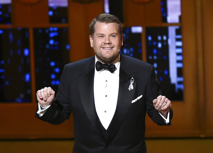 """FILE - This June 12, 2016 file photo shows James Corden hosting the Tony Awards in New York. Corden is returning to host the 73rd annual Tony Awards. The American Theatre Wing on Tuesday, March 19, 2019, announced the host of CBS' """"The Late Late Show"""" will preside over Broadway's biggest night which honors the season's best plays and musicals. (Photo by Evan Agostini/Invision/AP, File)"""