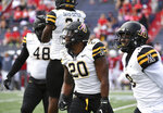 Appalachian State wide receiver Sean Horton (20) and teammates celebrate a blocked field goal during the second half of an NCAA college football game against South Alabama, Saturday, Oct. 26, 2019, at Ladd-Peebles Stadium in Mobile, Ala. (AP Photo/Julie Bennett)