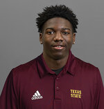 This undated image provided by Texas State University shows NCAA college football player Khambrail Winters. Winters was fatally shot Tuesday, Nov. 24, 2020, and two men have been arrested and charged in the killing. The San Marcos, Texas, Police Department says officers responded to calls of shots fired at the Lodge Apartments in San Marcos after what witnesses described as a drug deal gone wrong. (Texas State University, via AP)