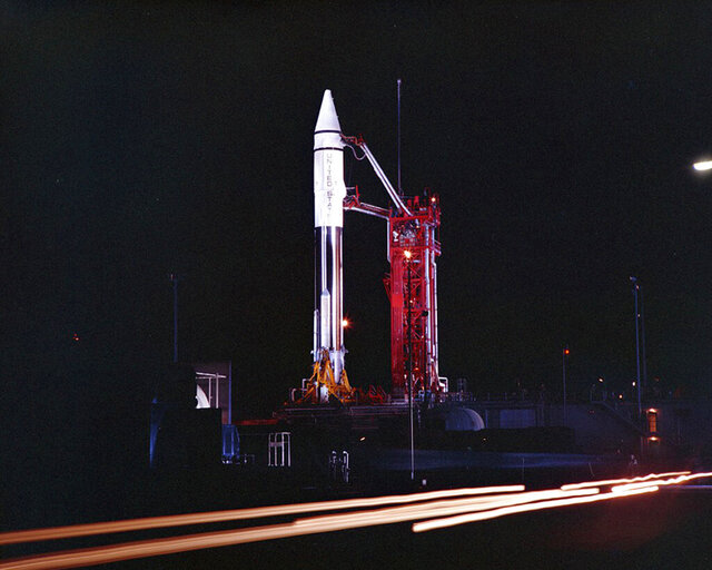 FILE - This Sept. 20, 1966 photo provided by the San Diego Air and Space Museum shows an Atlas Centaur 7 rocket on the launchpad at Cape Canaveral, Fla. A mysterious object temporarily orbiting Earth is the Centaur upper stage of this 54-year-old rocket, not an asteroid after all, astronomers confirmed Wednesday, Dec. 2, 2020. Observations by a telescope in Hawaii clinched its identity, according to NASA's Jet Propulsion Laboratory in Pasadena, California. (Convair/General Dynamics Astronautics Atlas Negative Collection/San Diego Air and Space Museum via AP)