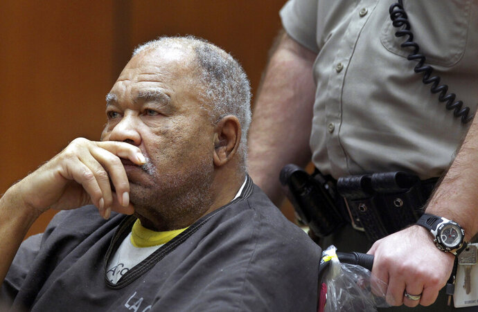 FILE - In this March 4, 2013, file photo, Samuel Little appears at Superior Court in Los Angeles. Little, pronounced by the FBI the most prolific serial killer in U.S. history, has confessed to more than 90 slayings committed across the country between 1970 and 2005. (AP Photo/Damian Dovarganes, File)