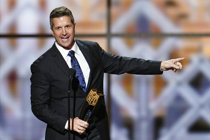 Baltimore Raven's John Harbaugh winning the AP Coach of the Year at the NFL Honors football award show Saturday, Feb. 1, 2020, in Miami. (AP Photo/David J. Phillip)