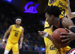 Stanford's Bryce Wills drives the ball past California's Connor Vanover (23) in the second half of an NCAA college basketball game Sunday, Feb. 3, 2019, in Berkeley, Calif. (AP Photo/Ben Margot)