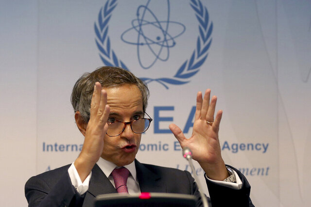 Director General of International Atomic Energy Agency, IAEA, Rafael Mariano Grossi from Argentina, addresses the media during a news conference after a meeting of the IAEA board of governors at the International Center in Vienna, Austria, Monday, Sept. 14, 2020. (AP Photo/Ronald Zak)