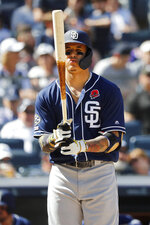 San Diego Padres' Manny Machado reacts while at-bat against the New York Yankees during the ninth inning of an baseball game, Monday, May 27, 2019, in New York. (AP Photo/Michael Owens)