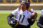 Pittsburgh Steelers wide receiver Chase Claypool (11) works during the team's NFL mini-camp football practice in Pittsburgh, Wednesday, June 16, 2021. (AP Photo/Gene J. Puskar)