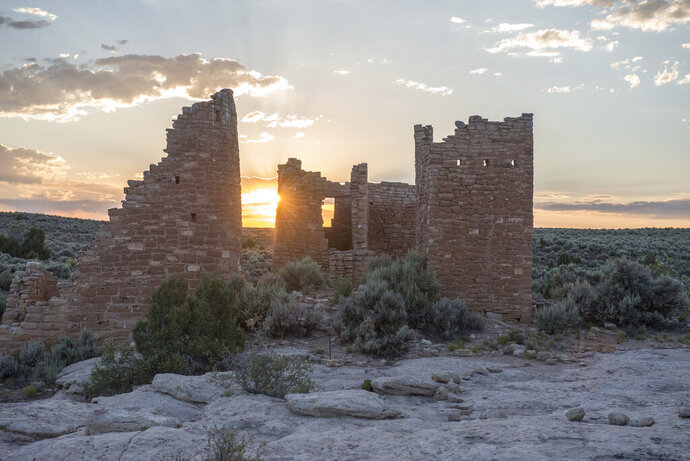 This June 20, 2017, photo provided by Chris Wonderly shows Hovenweep Castle at Hovenweep National Monument on the Colorado-Utah border. The U.S. government will allow oil and gas companies to make lease bids Monday on lands considered archaeologically sensitive near a national monument stretching across the Utah-Colorado border that houses sacred tribal sites. Included in the Bureau of Land Management's September oil and gas lease sale is about 47 square miles (122 square kilometers) of land north of Hovenweep National Monument, a group of prehistoric villages overlooking a canyon with connections to several indigenous tribes throughout the U.S. Southwest. (Chris Wonderly/National Park Service, via AP)