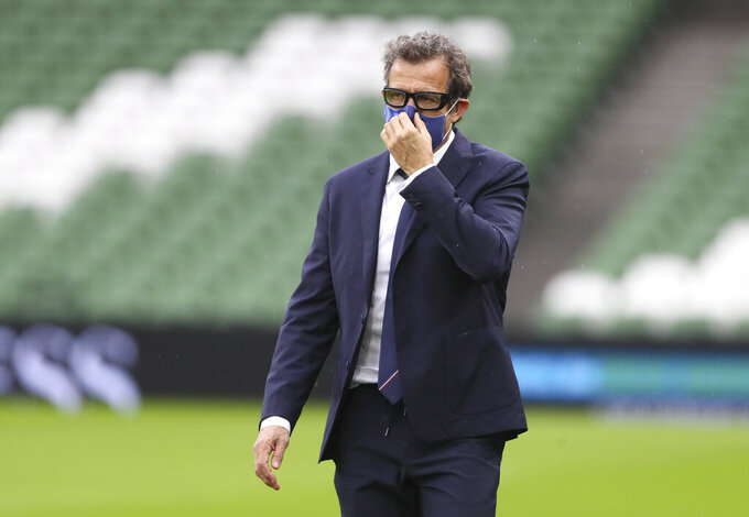 French team coach Fabien Galthie arrives before the start of the Six Nations rugby union match between Ireland and France Aviva Stadium, Dublin, Sunday, Feb. 14, 2021. (Brian Lawless, Pool via AP)