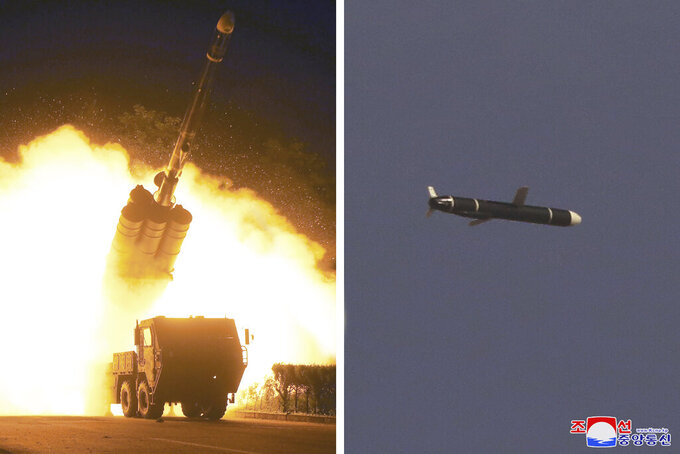 """This combination of photos provided by the North Korean government on Monday, Sept. 13, 2021, shows long-range cruise missiles tests held on Sept. 11 -12, 2021 in an undisclosed location of North Korea. North Korea says it successfully test fired what it described as newly developed long-range cruise missiles over the weekend, its first known testing activity in months that underscored how it continues to expand its military capabilities amid a stalemate in nuclear negotiations with the United States. Independent journalists were not given access to cover the event depicted in this image distributed by the North Korean government. The content of this image is as provided and cannot be independently verified. Korean language watermark on image as provided by source reads: """"KCNA"""" which is the abbreviation for Korean Central News Agency. (Korean Central News Agency/Korea News Service via AP)"""