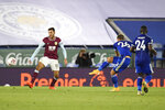 Leicester's Dennis Praet, second right scores his side's fourth goal during the English Premier League soccer match between Leicester City and Burnley at the King Power Stadium, Leicester, England, Sunday, Sept. 20, 2020. (Peter Powell, Pool via AP)