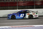 FILE - In this Thursday, May 28, 2020, file photo, Ricky Stenhouse Jr. drives during a NASCAR Cup Series auto race at Charlotte Motor Speedway, in Concord, N.C. Stenhouse Jr. returned from NASCAR's 10-week shutdown and crashed on the first lap of the first race. His next two races weren't much better but Stenhouse finally got a break with a fourth-place finish Thursday night. Now he goes to Bristol Motor Speedway, where he has had strong runs before. The Cup Series races for the fifth time in 14 days on Sunday. (AP Photo/Gerry Broome, File)