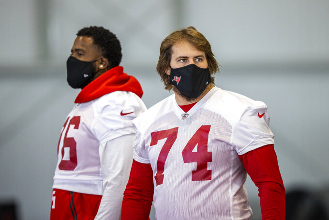 Tampa Bay Buccaneers guard Ali Marpet walks between drills during NFL football practice, Tuesday, Feb. 2, 2021 in Tampa, Fla. The Buccaneers will face the Kansas City Chiefs in Super Bowl 55. (Tori Richman/Tampa Bay Buccaneers via AP)