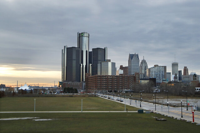 FILE - This Dec. 5, 2019, photo shows the Detroit skyline. Detroit Charter Commission Vice Chair Nicole Small said the city, with one of the nation's largest African American-majorities, has been hit particularly hard by foreclosures since the height of the mortgage crisis in 2008. Small said homeowners need relief beyond what's being offered in the midst of the coronavirus pandemic. (AP Photo/Carlos Osorio, File)