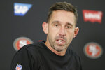 San Francisco 49ers head coach Kyle Shanahan speaks during a news conference after loosing to the Baltimore Ravens in a NFL football game, Sunday, Dec. 1, 2019, in Baltimore, Md. Ravens won 20-17. (AP Photo/Julio Cortez)