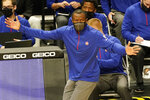 Detroit Pistons head coach Dwane Casey gestures during the first half of an NBA basketball game against the Miami Heat, Monday, Jan. 18, 2021, in Miami. (AP Photo/Marta Lavandier)