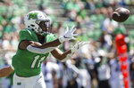 Marshall tight end Xavier Gaines (11) prepares to catch a pass for a touchdown against Eastern Kentucky in an NCAA college football game Saturday, Sept. 5, 2020, in Huntington, W.Va. (Sholten Singer/Herald-Dispatch via AP)