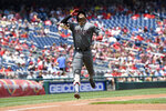 Arizona Diamondbacks' Ketel Marte celebrates his home run during the first inning of a baseball game against the Washington Nationals, Sunday, June 16, 2019, in Washington. (AP Photo/Nick Wass)