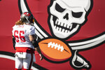 Tampa Bay Buccaneers center Ryan Jensen during NFL football practice, Thursday, Feb. 4, 2021 in Tampa, Fla. The Buccaneers will face the Kansas City Chiefs in Super Bowl 55. (Kyle Zedaker/Tampa Bay Buccaneers via AP)