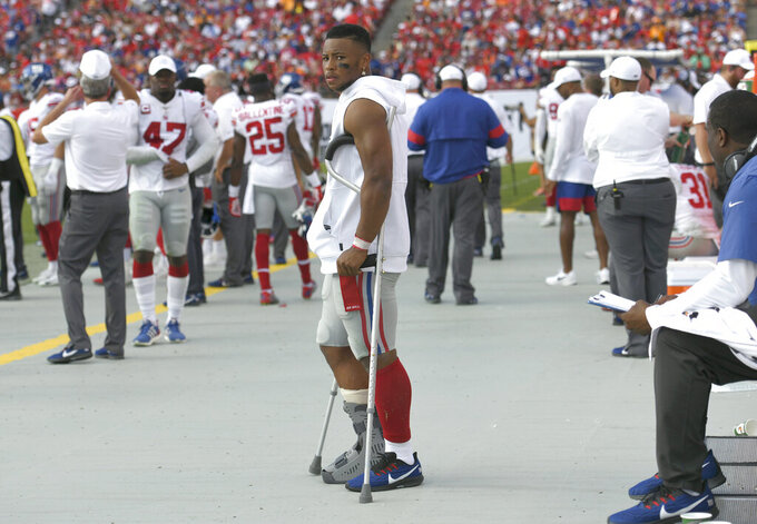 Giants Barkley has high ankle sprain, time out uncertain