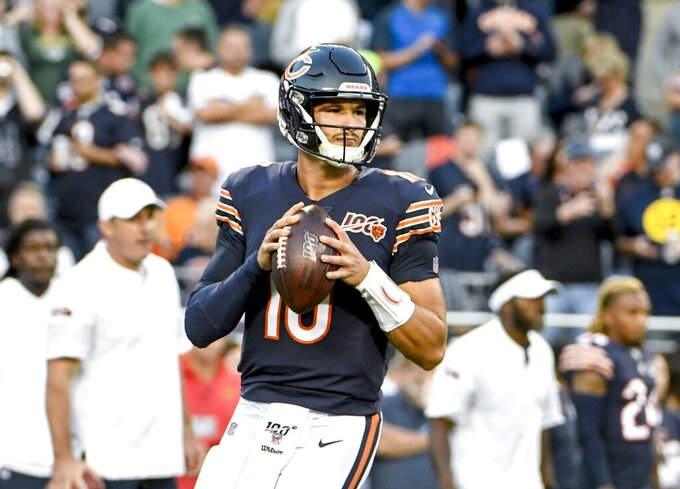 Chicago Bears' Mitchell Trubisky warms up before an NFL football game against the Green Bay Packers Thursday, Sept. 5, 2019, in Chicago. (AP Photo/David Banks)