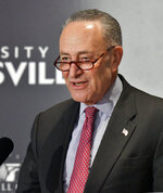 Senate Minority Leader Charles Schumer, D-N.Y., addresses the audience during his speech at the McConnell Center's Distinguished Speaker Series Monday, Feb. 12, 2018, in Louisville, Ky. (AP Photo/Timothy D. Easley)