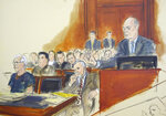 FILE - In this courtroom artist's sketch, defendant Jeffrey Epstein, left, and attorney Reid Weingarten, second from right, listen as attorney Martin Weinberg, right, speaks during a bail hearing in federal court, Monday, July 15, 2019 in New York. Newly released court documents show that Epstein repeatedly declined to answer questions about sex abuse as part of a lawsuit. A partial transcript of the September 2016 deposition was included in hundreds of pages of documents placed in a public file Friday, Aug. 9, 2019 by a federal appeals court in New York. Epstein has pleaded not guilty to sex trafficking charges after his July 6 arrest.  (Elizabeth Williams via AP)