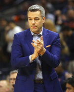 Virginia coach Tony Bennett reacts to a play during the team's NCAA college basketball game against Stony Brook in Charlottesville, Va., Wednesday, Dec. 18, 2019. (AP Photo/Andrew Shurtleff)