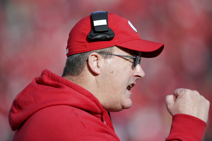 Wisconsin head coach Paul Chryst gestures to his players during the second half of an NCAA college football game against Nebraska in Lincoln, Neb., Saturday, Nov. 16, 2019. Wisconsin won 37-21. (AP Photo/Nati Harnik)